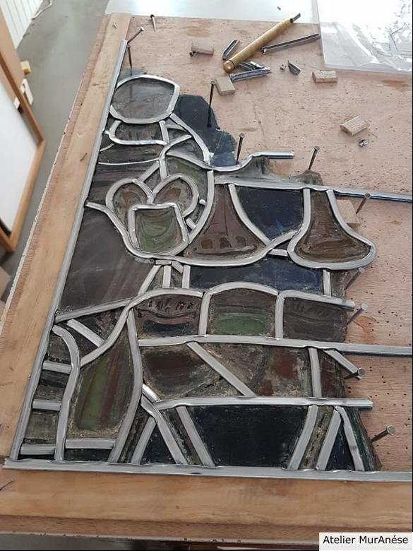 Groult Isingrini Vitrail Restauration vitraux verres montage Muranése